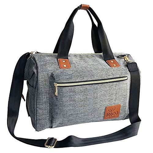 NICO Stilvolle Unisex Baby Wickeltasche, große Windel Wickeltasche, Essentials Organizer, isolierte Taschen mit Flasche Warmer Pouch, für Eltern oder Profis (grau / graue Farbe mit hochwertigen braunen PU Lederborten) (Unisex-baby-windel-tasche)