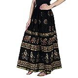 Home Shop Gfit Women's Cotton Gold Printed Long Skirt (NANCY_128, Black, Free Size)
