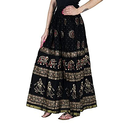 Home Shop Gfit Women's Cotton Gold Printed Long Skirt (NANCY_128, Black, Free Size)
