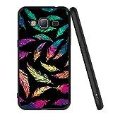 ZhuoFan Coque Samsung Galaxy J3 2016, Etui en Silicone Noir avec Motif 3D Fun Fantaisie Dessin Antichoc TPU Gel Housse de Protection Case Cover Coque pour Téléphone SamsungJ3 SM-J320fn, Plume