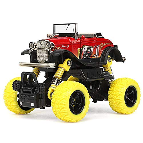 (Ting-Times Toddlers 4WD Pull Back Monster Trucks, Pull Back Alloy Big Wheel Off-Road Toy Car Collectable Party Supplies Set for 3 Year Olds for Toddlers, Creative Gifts Party Favors Kids (Red))