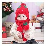 Transer® Bébé Hiver chaud Chapeaux et écharpes pour bébé enfants mignon Fraise Chapeau Filles et garçons chaud en laine pour ceintures et chapeaux