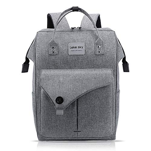 Lekesky Rucksack Damen Herren für Schule Uni Reisen Freizeit Job mit Laptopfach & Anti Diebstahl Tasche, Grau