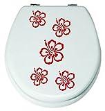 Angebot**Blumen Set 5 Stck.ROT Aufkleber 3-8cm WC-Sticker,Fenstersticker, Wandtattoo Bad Fliesen Blüten Farbe Deko (Die Farbe senden Sie in einer Nachricht über Amazon mit)