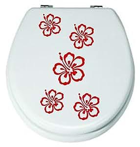 Offerta**Set 5 pezzi, fiori,. Rosso adesivo rosso, 3-8 cm, per WC-adesivi, adesivi, da bagno piastrelle fiori colore decorativio (colore inviare in un messaggio tramite Amazon con)