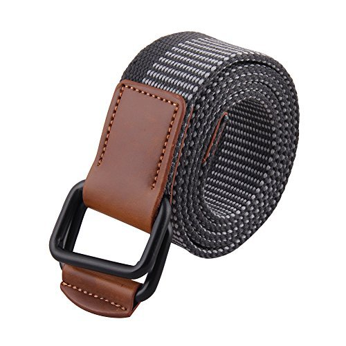 Liqy Men's Canvas Webbing Belt Casual All-match Double D Ring Buckle Belt (120cm)