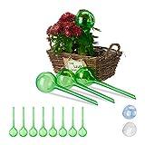 Relaxdays Bewässerungskugeln, 12er Set, Dosierte Bewässerung, 2 Wochen, Topfpflanzen, Kunststoff, grün