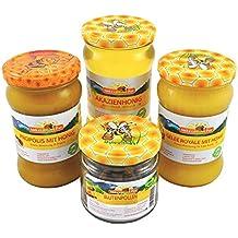 ImkerPur® Bienen-Feinkost-Set, 3 sortenreine, kaltgeschleuderte Honig-Spezialitäten (je 400 g Propolis mit Honig, Akazienhonig, Gelee Royale mit Honig), 180 g Blütenpollen