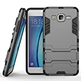 Qiaogle Telefono Case - Shock Proof PC Hibrida Stents Protettiva Case Cover per Samsung Galaxy On5 / ON5 Pro / SM-G550FY / M-G5500(5.0 Pollici) - HK06 / Grigio