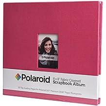 """Polaroid Álbum de fotos cubierto de tela 8""""x8"""" con ventana para foto frontal para proyectos en papel de foto 2x3 (Snap, Zip, Z2300) - Rojo"""