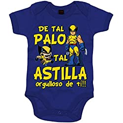 Body bebé Lobezno Logan Wolwerine de tal palo tal astilla orgulloso de ti - Azul Royal, 6-12 meses