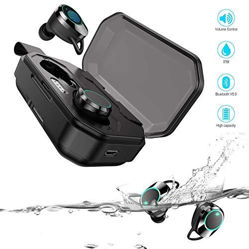 Bluetooth Kopfhörer 5.0, Bluetooth Kopfhörer in Ear Sport Wasserdicht IPX8, 3000 MAh Ladekasten Dauergebrauch 130H Spielzeit, HD Stereo Mit Mikrofon CVC8.0 Noise Cancelling, für Android und iOS Noise Cancelling-bluetooth-stereo -
