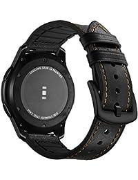 Aottom Für Samsung Gear S3 Frontier Armband Galaxy Watch 46,Uhrenarmband 22mm Armbänder Samsung Gear S3 Echte Leder+Silikon Lederarmband Ersatzband Gear S3 Classic Sport Band Herren Damen