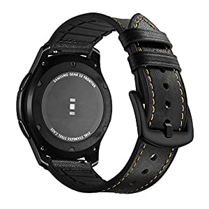 Aottom Kompatibel für Samsung Gear S3 Frontier Armband Samsung Galaxy Watch 46mm Leder,Smartwatch Armband 22mm Herren Lederarmband Galaxy Watch 46mm Armbänder Gear S3 Classic Band- Echte Leder+Silikon