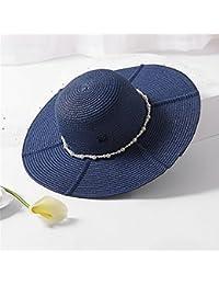 Fashion cap Sombrero de Paja Grande Conjunto de Perlas de Playa a lo Largo  de la cf116427dc6