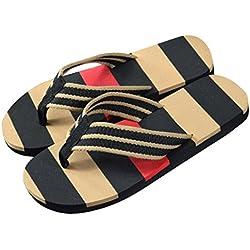 ❣JiaMeng Chanclas de la Raya del Verano de los Hombres Sandalias de la Zapatilla Masculina (40, Negro)