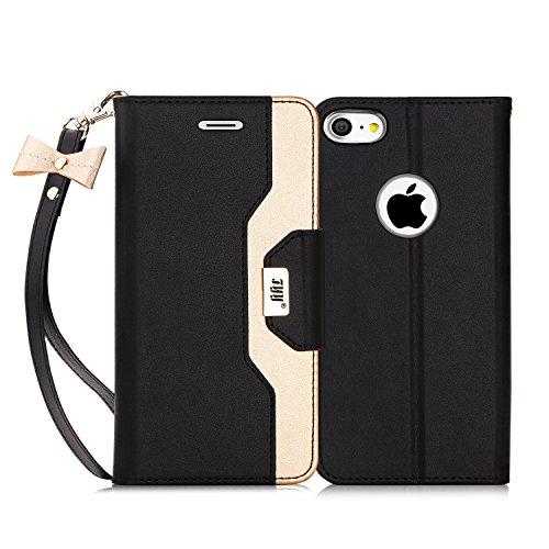 Fyy cover iphone 7, cover iphone 8, flip custodia portafoglio [funzione staffa] in pelle pu premium con specchio per il trucco e slot per schede per iphone 7/8-nero