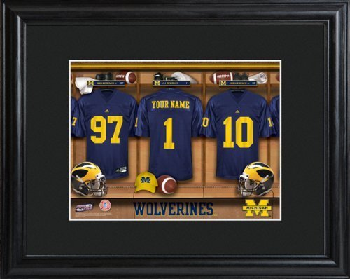 college-football-with-wood-frame-michigan-wolverines-football-locker-room-print