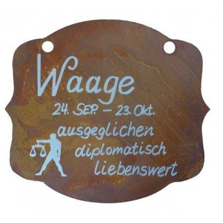 """Metallmichl Edelrost Rostschild Sternzeichen """"Waage"""" 13 x 11 cm – 24.September bis 23.Oktober, Geburtstagsgeschenk, Geschenkidee,"""
