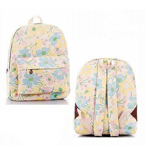 OUFLY Print Blumenrucksack Leinwand Rucksack Cooler Rucksack Daypack Schul College Tasche Daypack für Frauen Damen Mädchen Gelb u. Hellblaues u. Rosa Blumen
