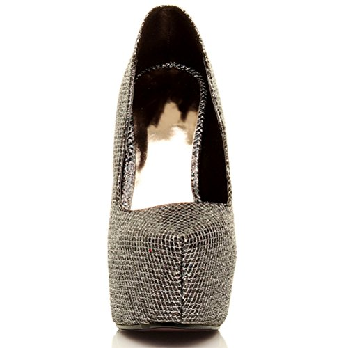 Damen Sehr Hoher Absatz Verdeckter Plateausohle Party Pumps Schuhe Größe Schwarz mit bunten Glitzer