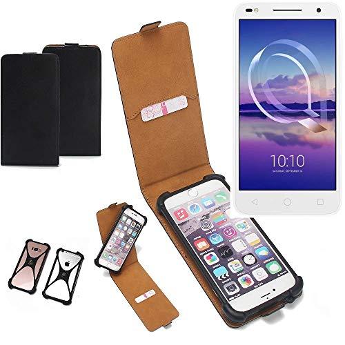 K-S-Trade Flipstyle Hülle für Alcatel U5 HD Dual SIM Handyhülle Schutzhülle Tasche Handytasche Case Schutz Hülle + integrierter Bumper Kameraschutz, schwarz (1x)