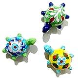 #2: Aurea Blue Pottery Bonsai Fairy Garden Decor Turtles (3 pcs)