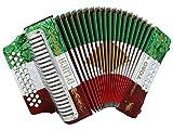 D 'luca d3112t-gcf-bk Toro Knopfakkordeon 31Schlüssel 12Bass auf GCF mit Fall und Riemen Rot/Weiß/Grün