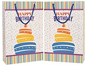 Arrow Birthday Gift Paper Bags, 28 cm x 20 cm x 7.5 cm (Pack of 40)