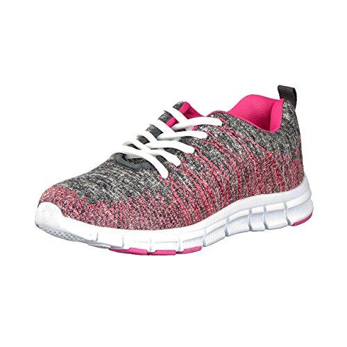 Trendiger Damen Laufschuh Sneaker Schnür Sport Fitness Turnschuh - Farbe: Pink - Größe: 36 - von Brandsseller