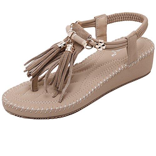 Vogstyle Damen Sommer Bohemia Sandalen Zehentrenner Clip Toe Flip Flops Strand Schuhe Art 10-Aprikose
