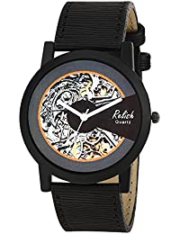 Relish RE-S8136BB Black Slim Analog Watches For Men's And Boy's