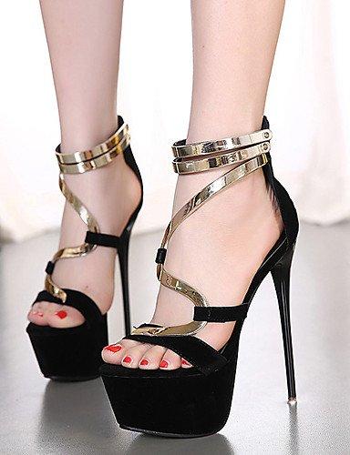 LFNLYX Chaussures Femme-Habillé / Soirée & Evénement-Noir-Talon Aiguille-Talons / A Plateau / Bout Ouvert-Sandales-Laine synthétique Black