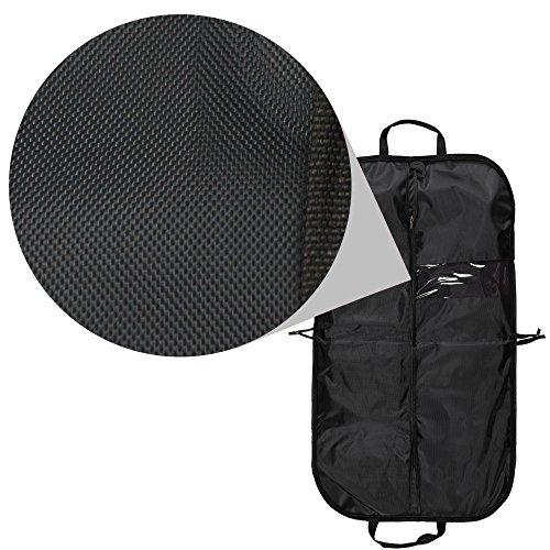 Bolsa de nailon de viaje para prendas, funda para traje formal, a prueba de agua con cremallera, con 2 perchas negras