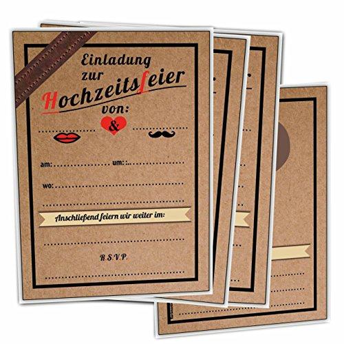Einladungskarten zur Hochzeit im Vintage Ticket Look Hochzeitskarten Blanko 40 Stück