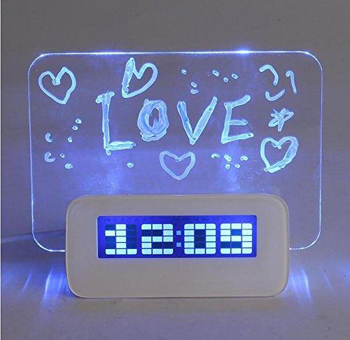 SADWF Wecker Multifunktions-LED Digital Wecker/Kalender/Thermometer/Leuchtstoff Notizblock + Textmarker mit 4 USB Ports, Weihnachten/Halloween/Neujahr/Geburtstagsgeschenk, Blue - Kunden-service-telefon-nummer
