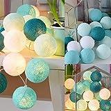 Lichterkette 20 LED Cotton Balls Lichterketten 3 Meter, bloatboy Lichterkette Hängen für Weihnachten Hochzeit Party Weihnachtsbaum Requisiten Party Dekoration (C)