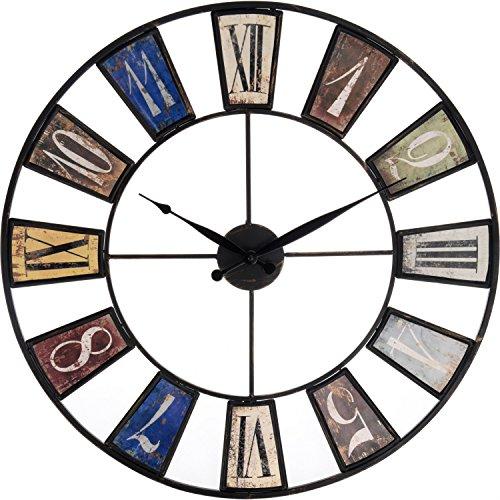 Große Wohnzimmer Wanduhr XXL Metall Ø 60cm Riesen Vintage Uhr für die Wand (Ø60cm Metall)