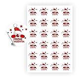 120 Aufkleber Frohe Weihnachten - Weihnachtsmann - rund 4 x 4 cm auf 5 DIN A4 Bögen auch für Adventskalender