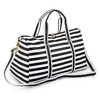 Women Waterproof Weekender Bag,AIZBO PU Leather Overnight Weekend Bag Travel Duffel Tote Bag Sports Gym Duffle Holdall for Ladies(Black Strips)