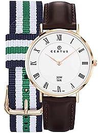 Certus–Reloj Mujer 612399–Caja Oro Rosa–Pulsera Piel Marrón–Reloj color blanco