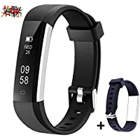 Mpow Fitness Tracker with an Extra Blue Wrist Band for Replacement, Pedometer, Track Steps, Distance, Sleep Monitor,Activity Trackers with SNS/SMS Alert, Alarms, Remote Control Phone Camera (black)
