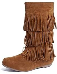 AgooLar Damen Mittler Absatz Hoch-Spitze Ziehen auf Mattglasbirne Rund Zehe Stiefel, Armeegrün, 35