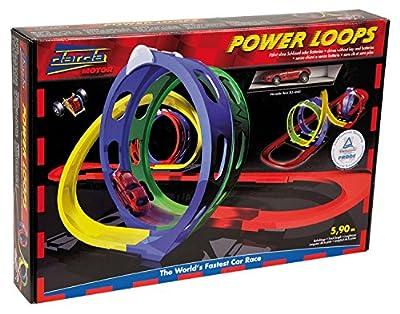 Darda 50141 - Rennbahn Power Loops, inklusive rotem Mercedes Benz SLS AMG, 590 cm Streckenlänge von SIMM Spielwaren