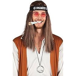 Hippie Juego–Cinta, gafas, símbolo, peluca + Joint