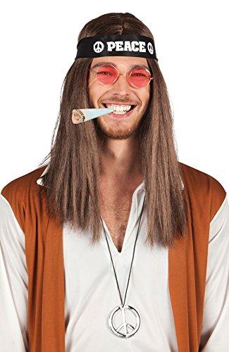 Hippie Set - Stirnband, Brille, Peacezeichen, Perücke + Joint (Lange Haare Herren Kostüm)
