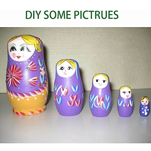 VANKER Muñecas rusas de anidamiento de bricolaje sin pintar Matryoshka del juguete del regalo de Navidad 5pcs