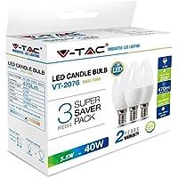 KIT Super Saver Pack V-TAC 3PCS/PACK Lampadine LED Candela 5.5W E14 VT-2076 - SKU 7264 Bianco Naturale 4000K