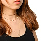 Chicer Women Multilayer Necklaces with Beads and Small Crystal (White)