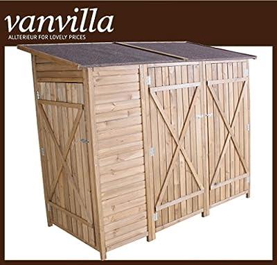 vanvilla Geräteschuppen Holz Flachdach Doppelschrank Braun lasiert Gerätehaus Gartenschrank DFG1501-DB von vanvilla bei Du und dein Garten